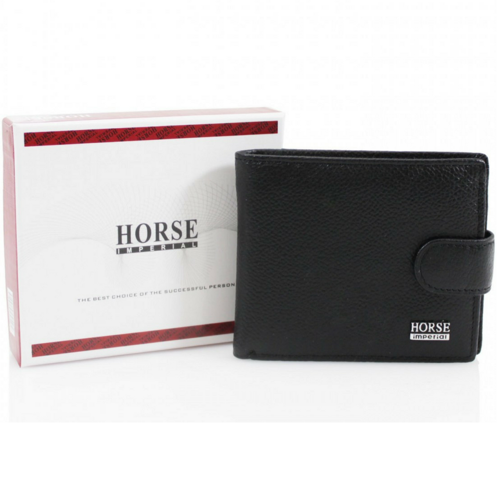 Men's Black Leather Wallet with Flap Over by Imperial Horse