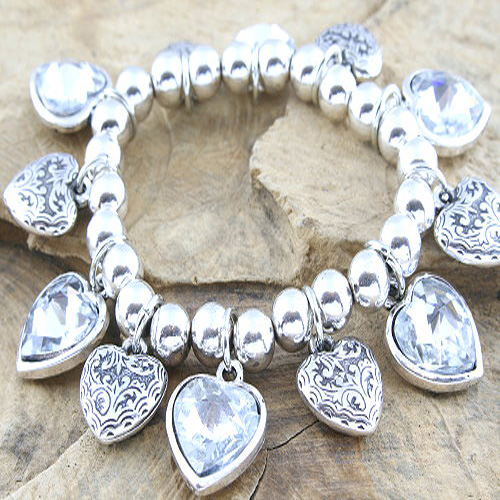 Metal Bead and Heart Bracelet with Facetted Rhinestones