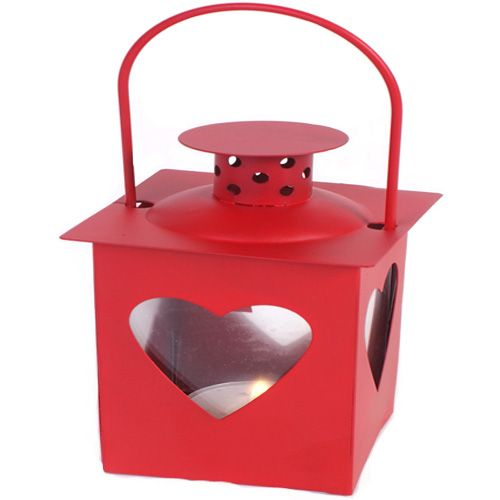 Mini Red Tealight Lantern with Heart shape windows