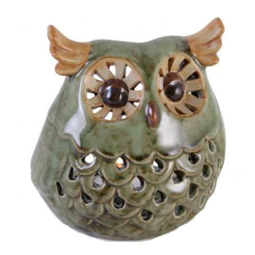 Moss Green Ceramic Owl tea light holder