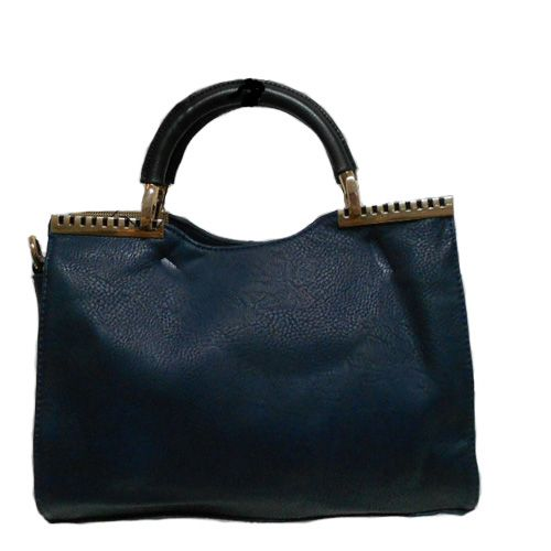 Navy Satchel Style Handbag, trimmed with gold