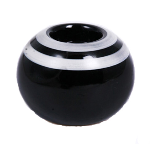 Naxos Ceramic tea light holder in Black with Grey lines around it