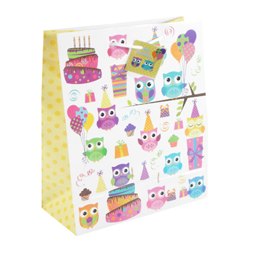 Owl Design Gift Bag Medium Size