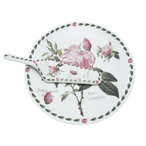 Pierre Redoute Rose Design Cake Plate & Matching Server