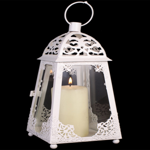 Pretty White metal and clear glass lantern