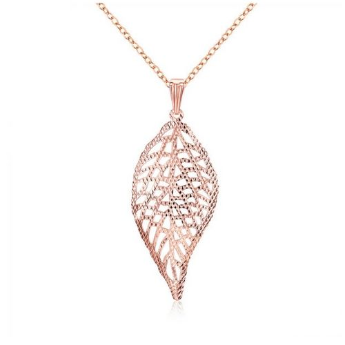 Rose Gold Plated Feather Pendant Necklace presented on a fine Rose Gold Chain
