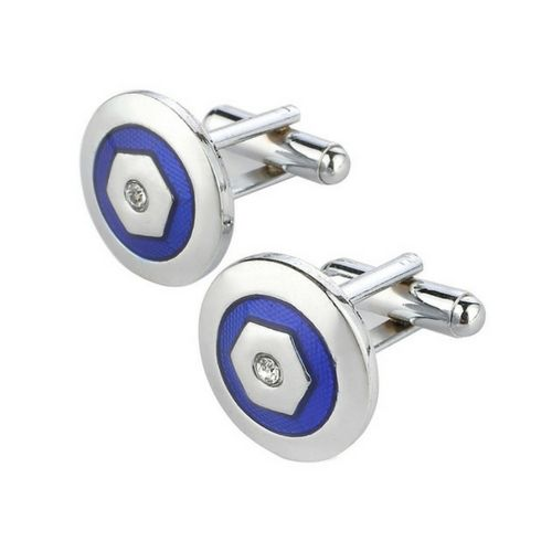 Round Silver and Blue Men's Cufflinks