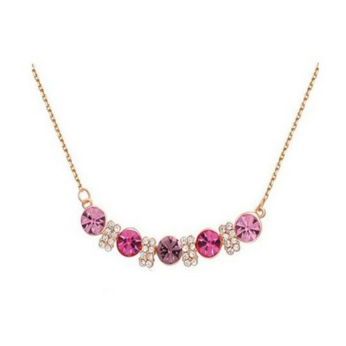 Roxi Austrian Pink Crystals presented on a Gold Chain