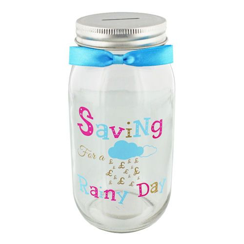 Saving For A Rainy Day, Glass Savings Jar