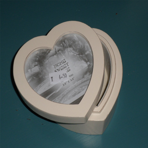 Shabby Chic Cream Wooden Heart Shape Trinket box, that can be personalised