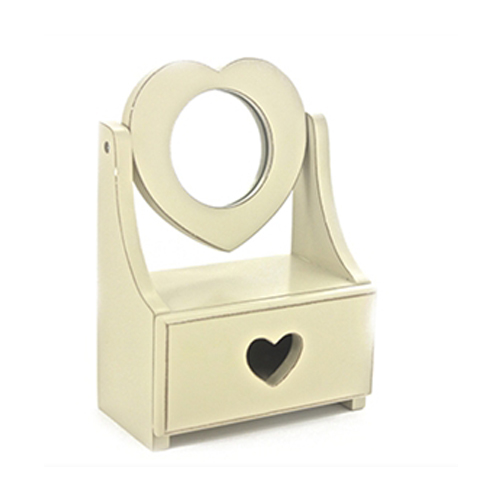 Shabby Chic Small Cream Drawer & Heart Shaped Mirror