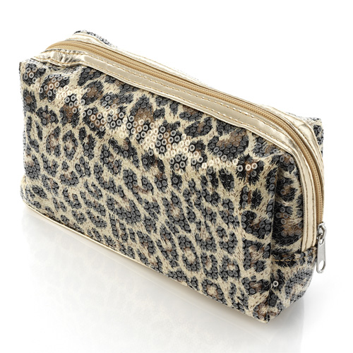 Shiny Gold Colour And Animal Print Sequin Cosmetic Bag