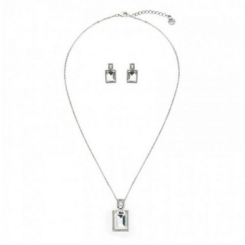 Silver Colour Large Crystal Jewellery Set