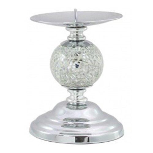 Silver Mosaic One Ball Candlestick Set on a Chrome Base