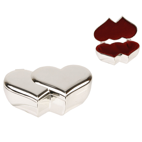 Silver Plated Double Heart Wedding Trinket Box