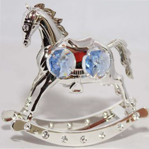 Silver Plated Rocking Horse with Blue Swarovski Crystals