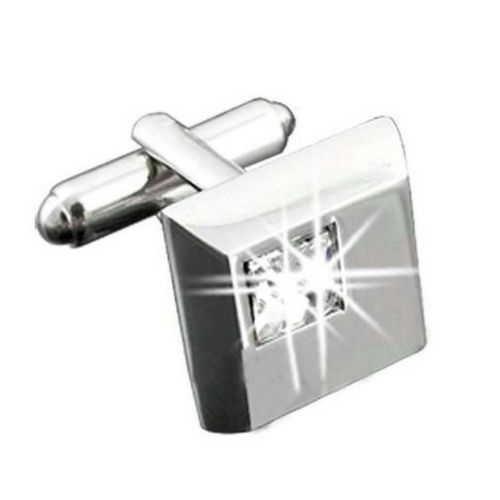 Silver Square Cufflinks with a White Crystal