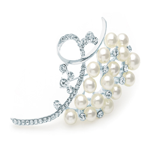 Silver & White Pearl Colour Bead Crystal Brooch