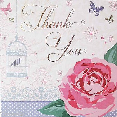 Simon Elvin Flowers and Butterflies Design Thank You Card