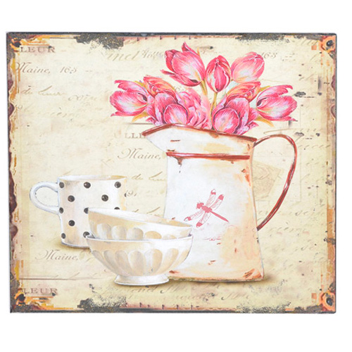 Square Floral picture set on a tin plaque, with household items in the image
