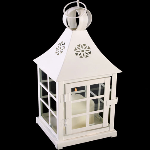 Square Shape Shabby Chic Off White Lantern