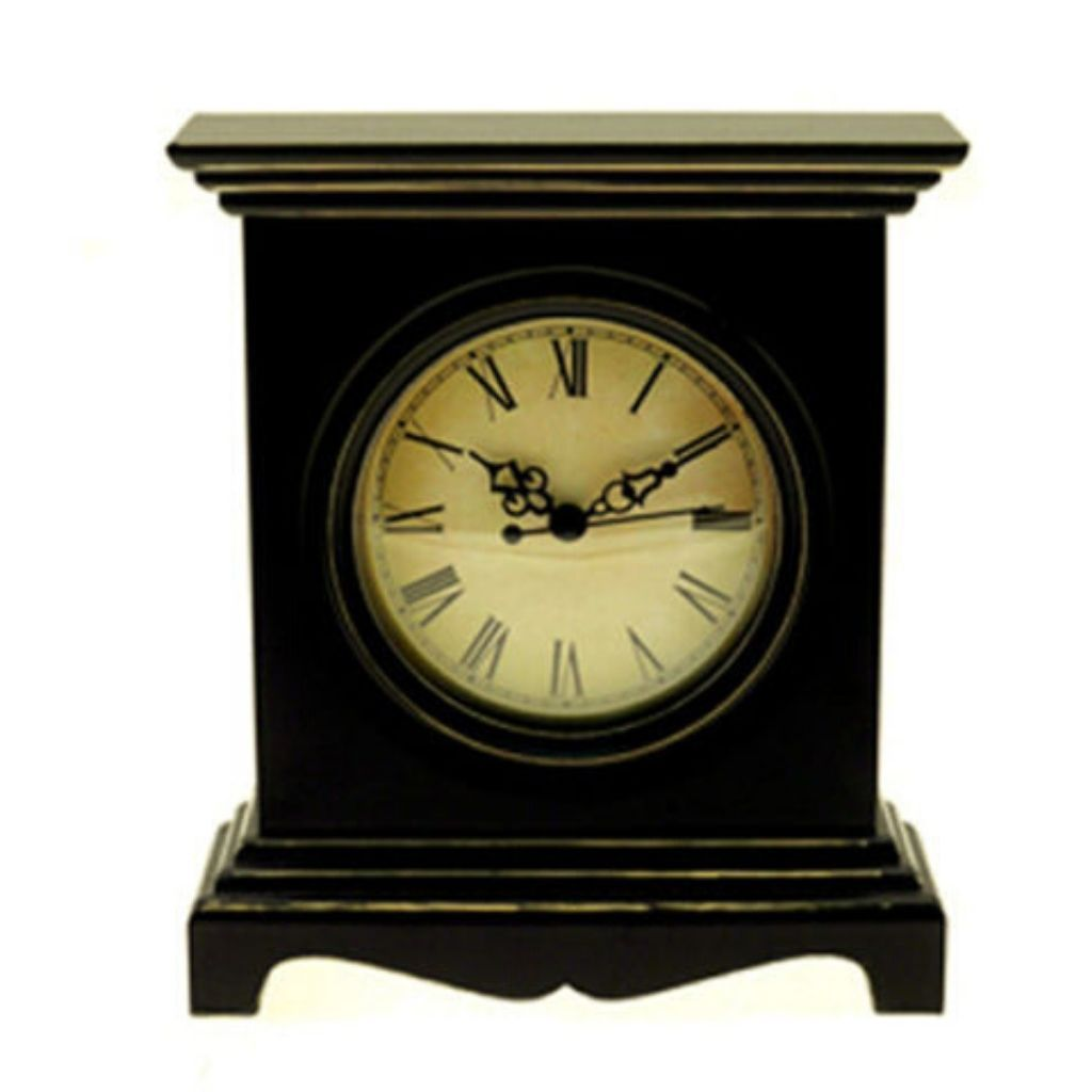 Tall Black Wooden Mantel Clock with a Distressed Finish