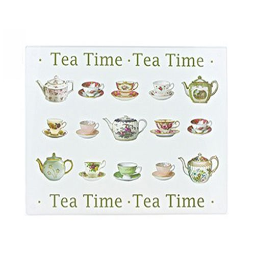 Tea Time Design Glass Cutting Board Worktop Saver