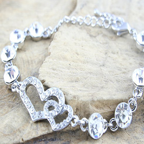 Two Hearts Entwined Shaped CZ Bracelet