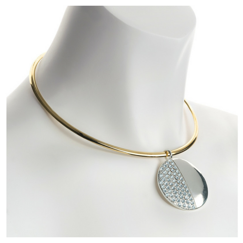 Two Tone Gold & Silver Collar Necklace with Crystal Pendant