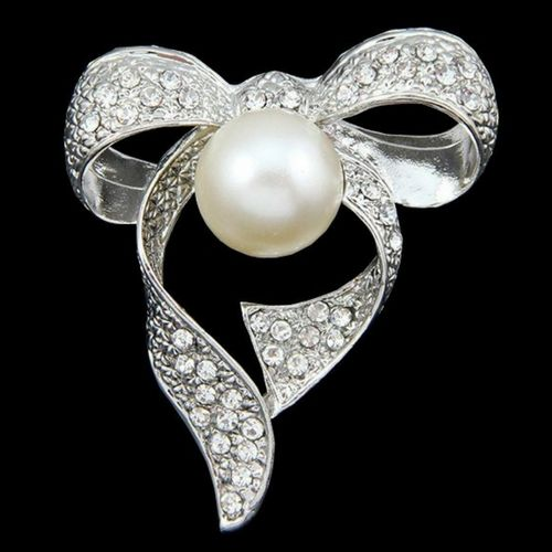 Vintage Inspired Large Crystal & Pearl Bow Brooch