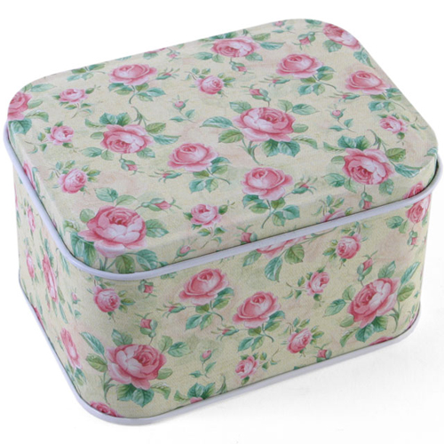 Vintage Style Floral Rectangle Tin