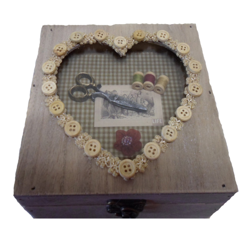 Vintage Style Wooden sewing box with heart design made of buttons