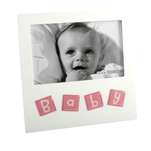 White Baby Photo Frame with raised pink tiles saying 'BABY'