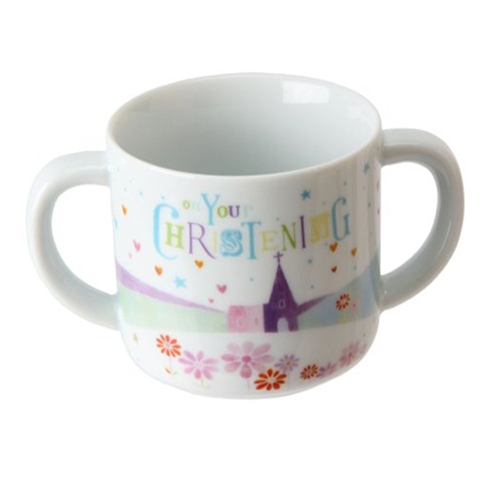 White Ceramic Baby Christening Mug