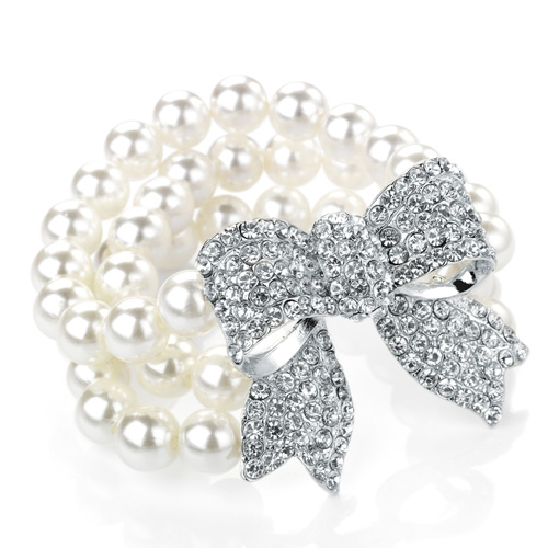 White Colour Pearl Bead Elastic Bracelet with a Crystal Bow Motif
