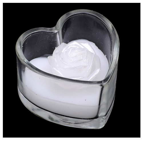 White Rose Shape Candle in a Heart Shaped Glass Pot