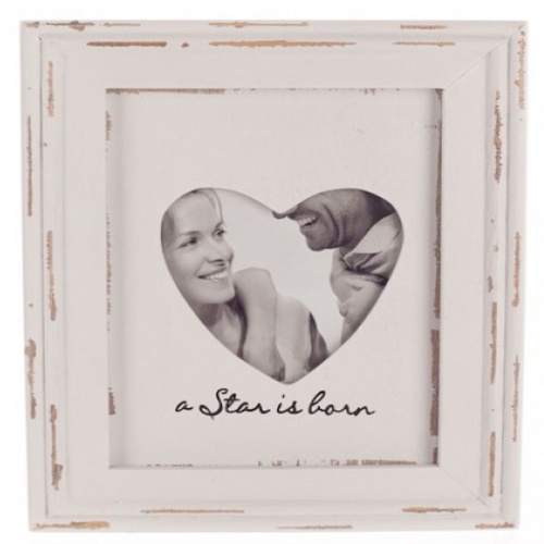 White Washed Heart Frame saying 'When a Star is born' Handpainted Frame with a distressed finish