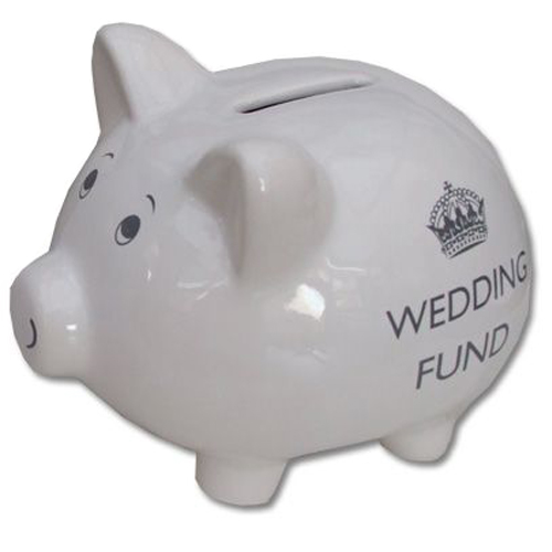 White Wedding Fund Piggy Bank, 'Wedding Fund'