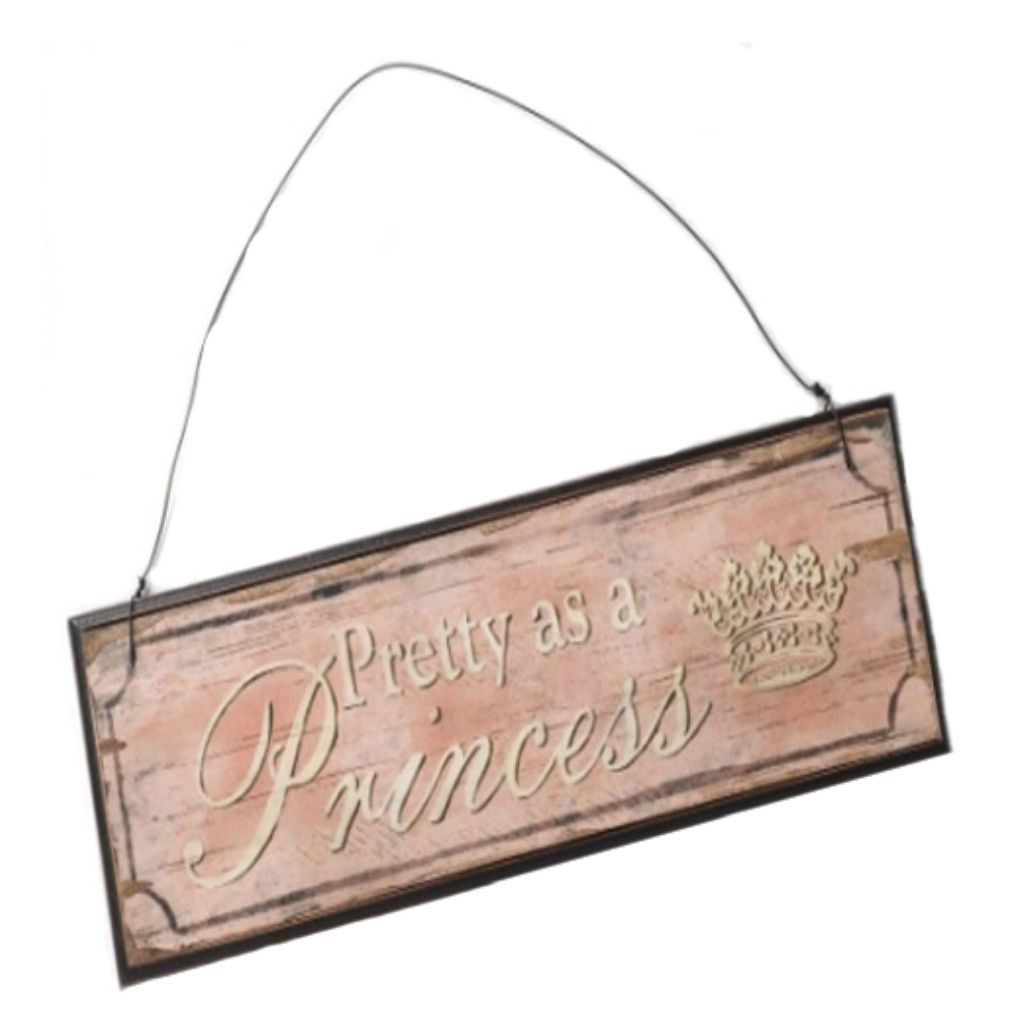Wooden Pink 'Pretty as a Princess' Hanging Sign